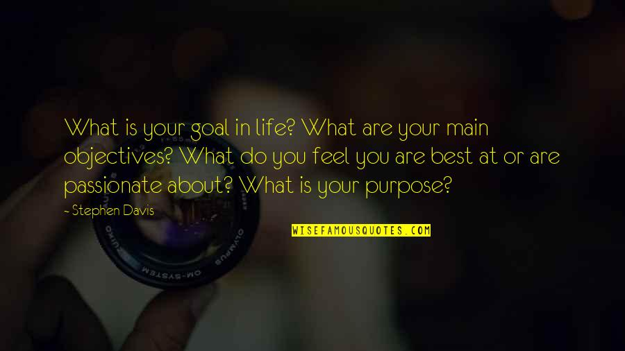 Do You Best Quotes By Stephen Davis: What is your goal in life? What are
