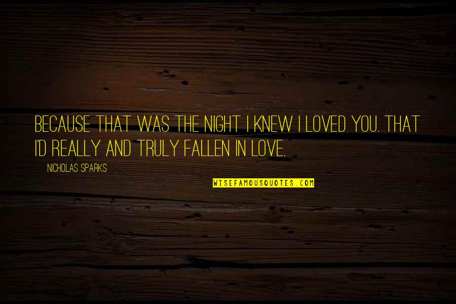 Doctor Who He Said She Said Quotes By Nicholas Sparks: Because that was the night I knew I