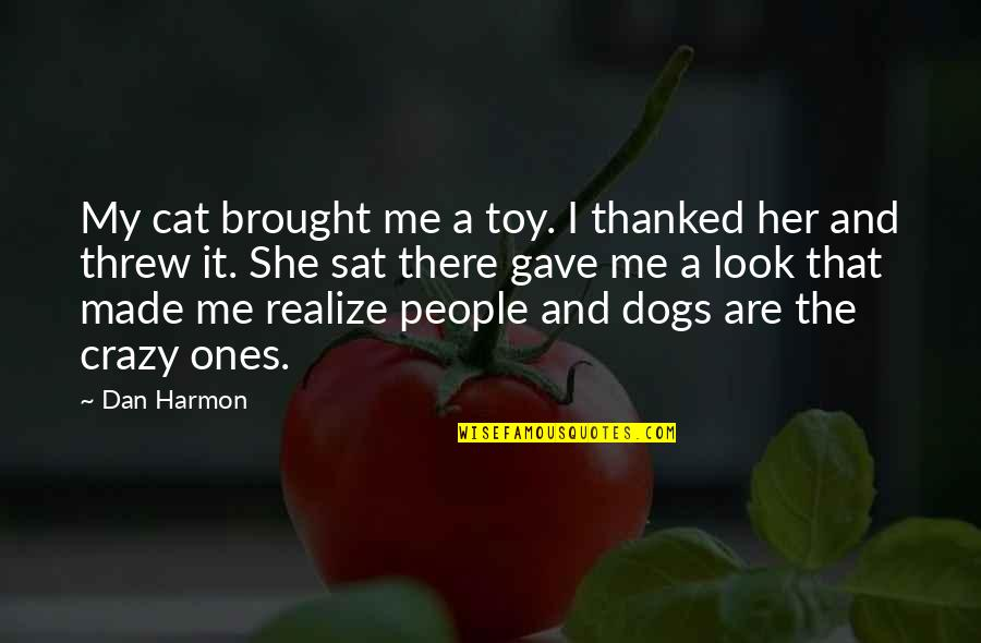Dog Cat Quotes By Dan Harmon: My cat brought me a toy. I thanked