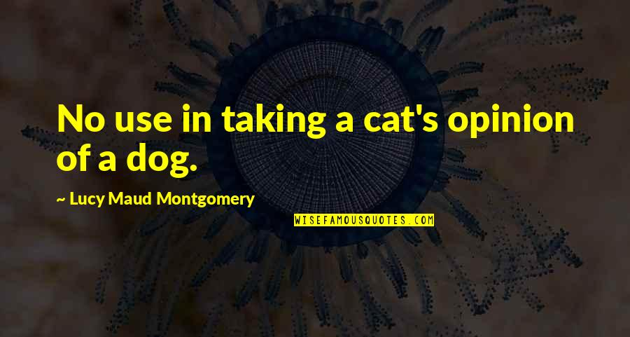 Dog Cat Quotes By Lucy Maud Montgomery: No use in taking a cat's opinion of