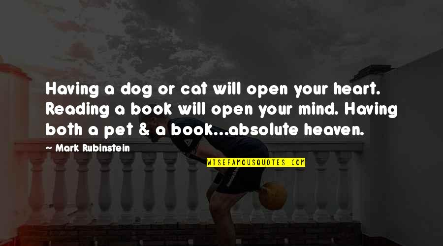 Dog Cat Quotes By Mark Rubinstein: Having a dog or cat will open your