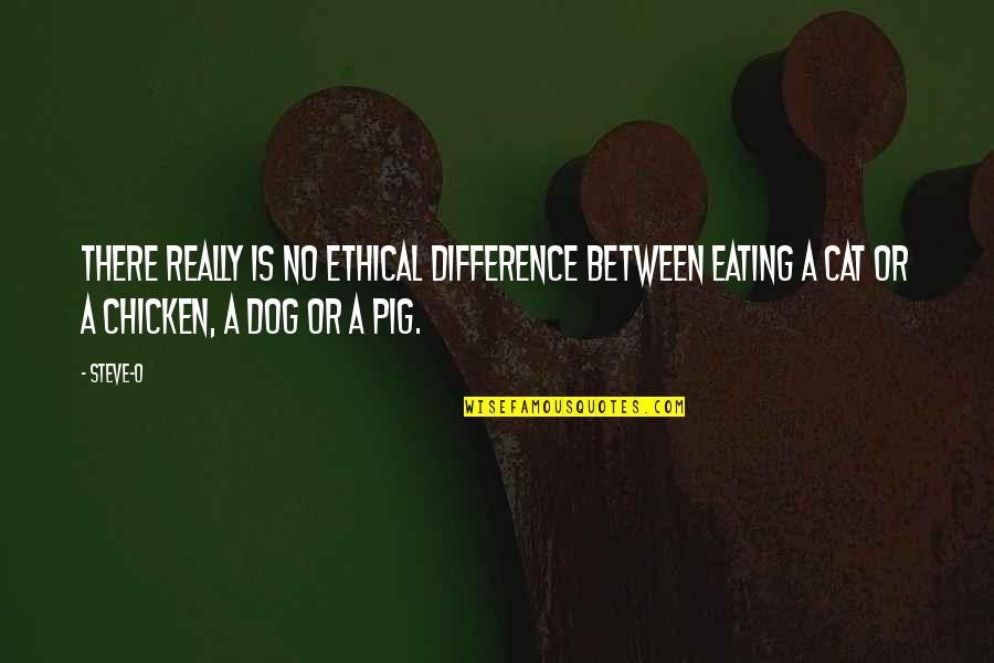 Dog Cat Quotes By Steve-O: There really is no ethical difference between eating