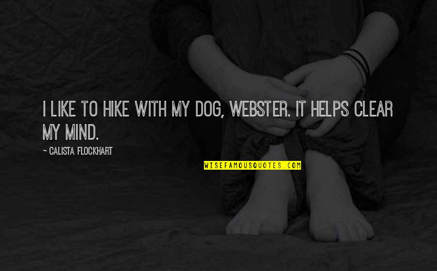 Dog Hike Quotes By Calista Flockhart: I like to hike with my dog, Webster.