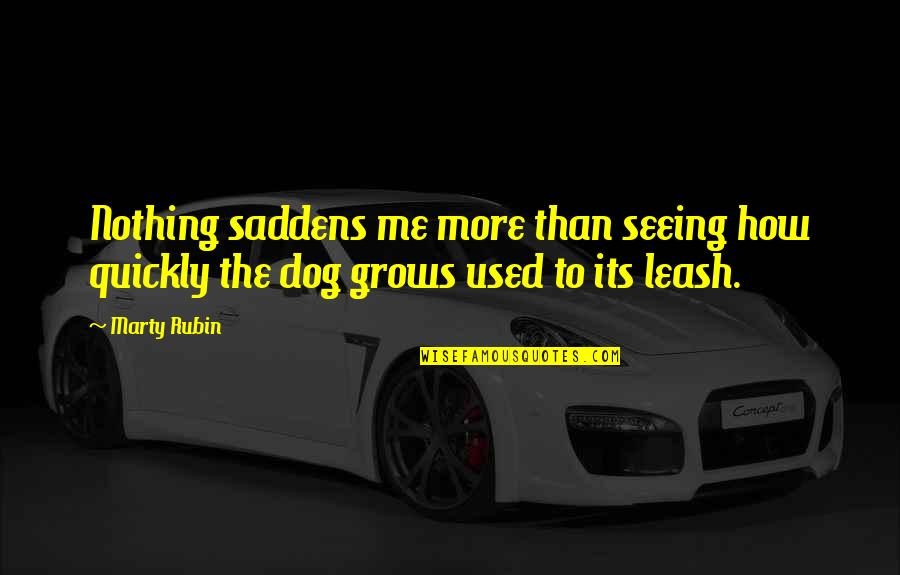 Dog Leash Quotes By Marty Rubin: Nothing saddens me more than seeing how quickly