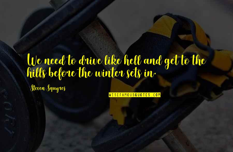 Dog Lost Quotes By Steven Squyres: We need to drive like hell and get