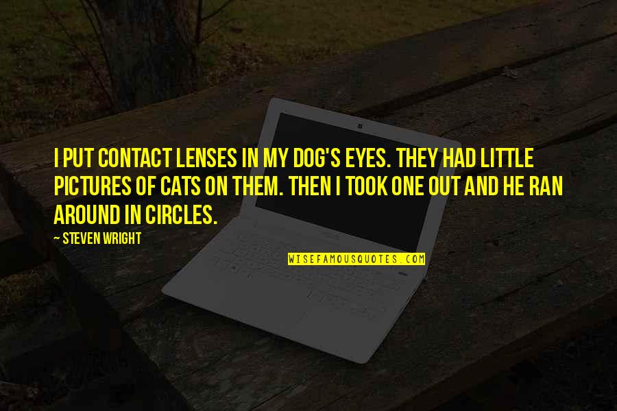 Dog Pictures Quotes By Steven Wright: I put contact lenses in my dog's eyes.