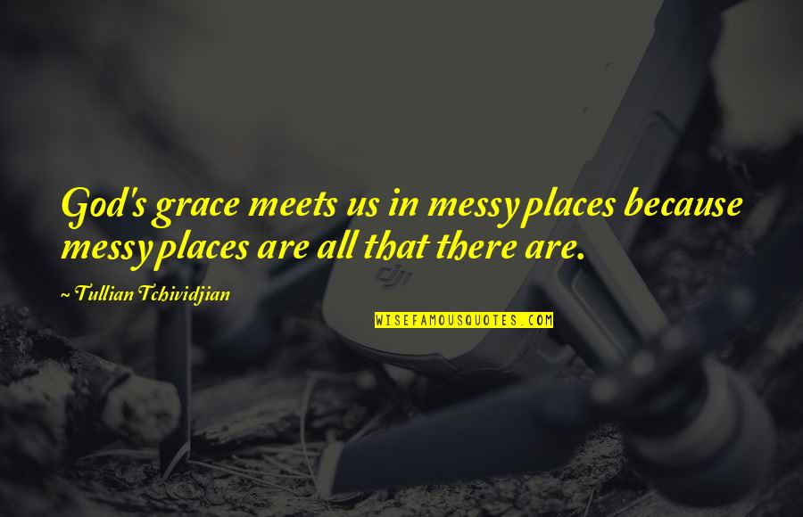 Dogs Will Always Love You Quotes By Tullian Tchividjian: God's grace meets us in messy places because