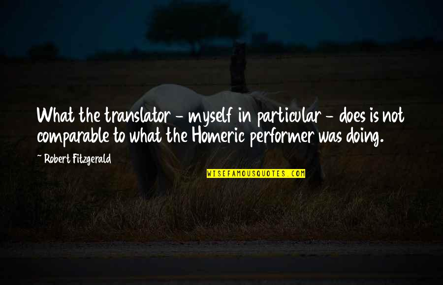 Doing It All By Myself Quotes By Robert Fitzgerald: What the translator - myself in particular -