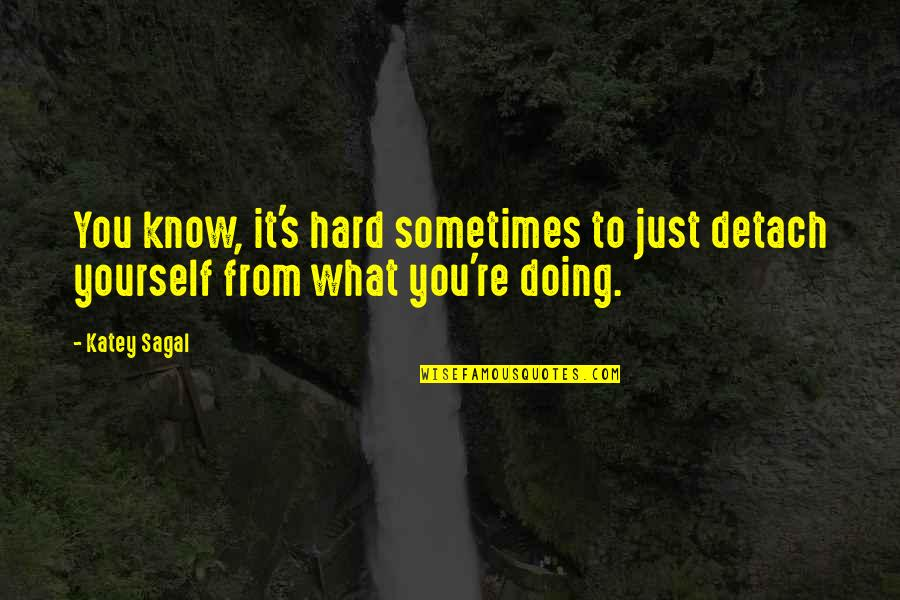 Doing It Yourself Quotes By Katey Sagal: You know, it's hard sometimes to just detach