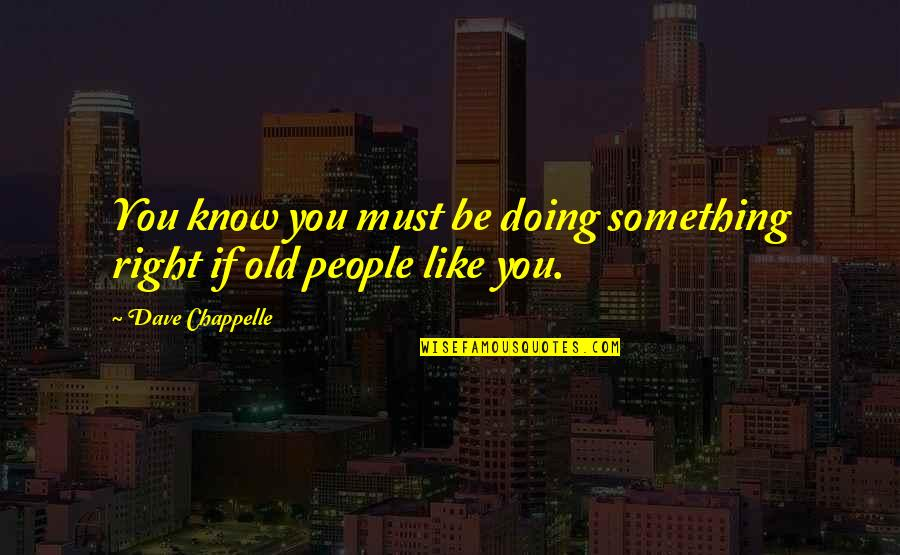 Doing Something You Like Quotes By Dave Chappelle: You know you must be doing something right