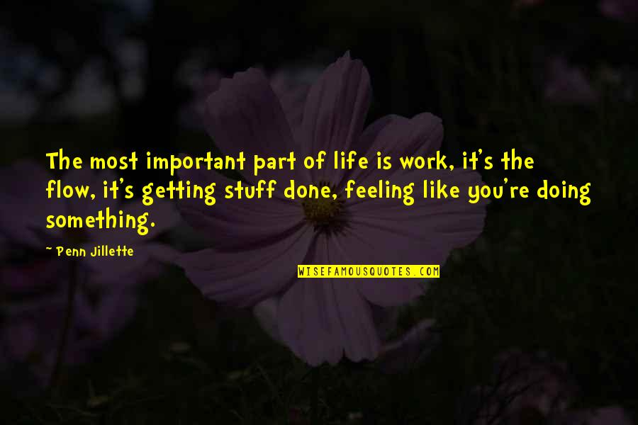 Doing Something You Like Quotes By Penn Jillette: The most important part of life is work,