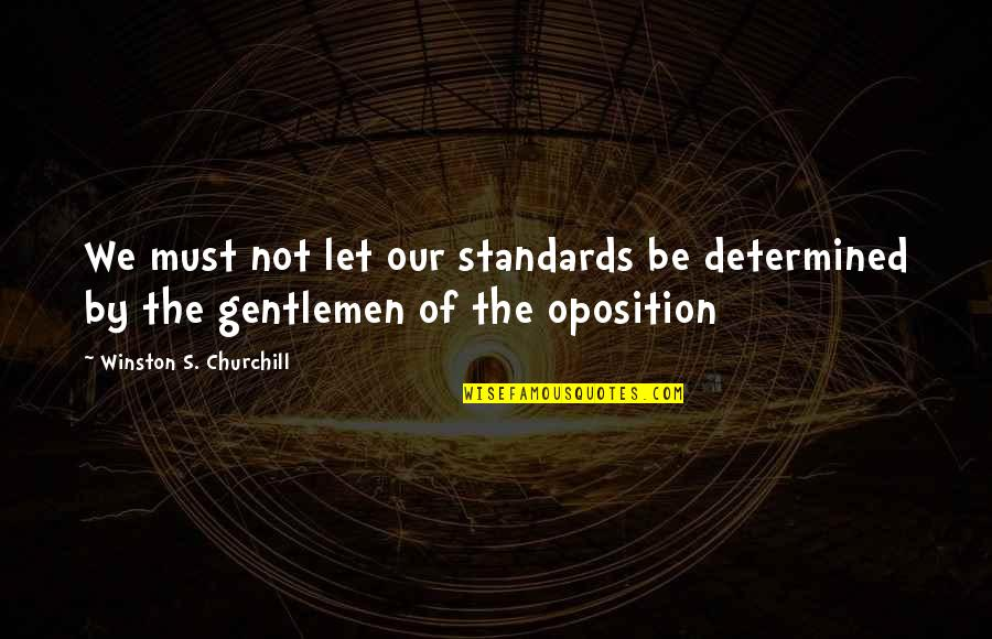 Doing Things Half Hearted Quotes By Winston S. Churchill: We must not let our standards be determined