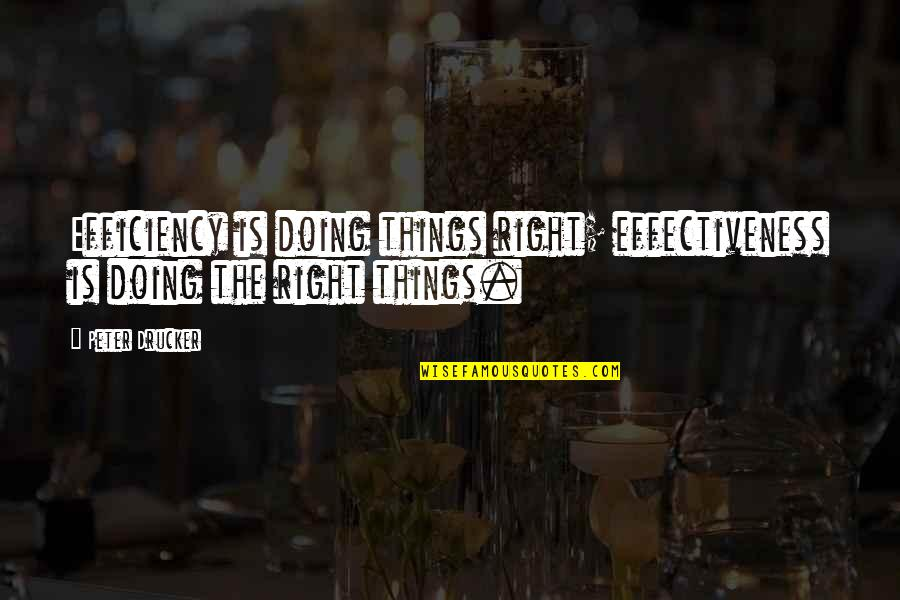 Doing Things Right Quotes By Peter Drucker: Efficiency is doing things right; effectiveness is doing