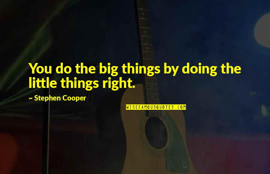 Doing Things Right Quotes By Stephen Cooper: You do the big things by doing the
