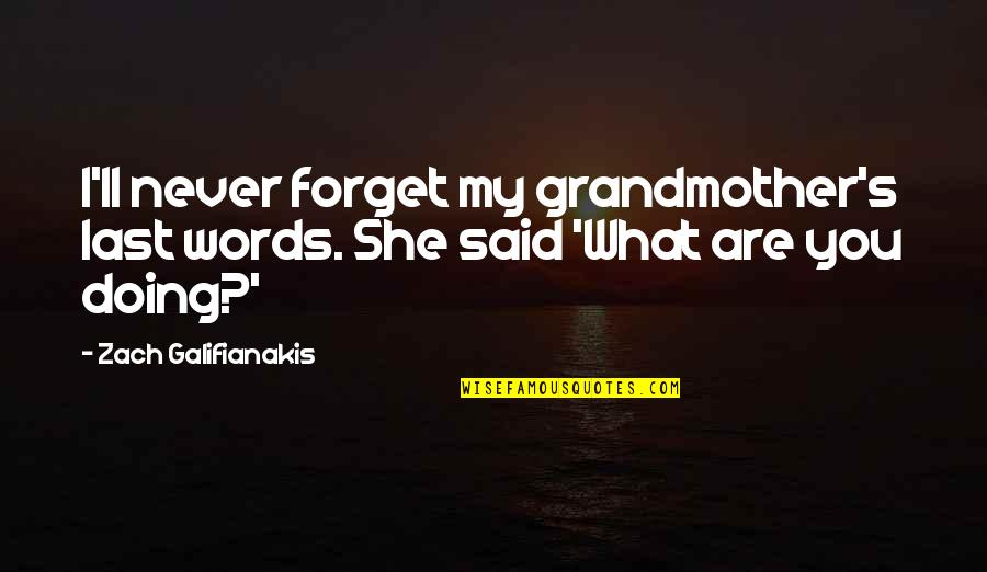 Doing What You Said Quotes By Zach Galifianakis: I'll never forget my grandmother's last words. She