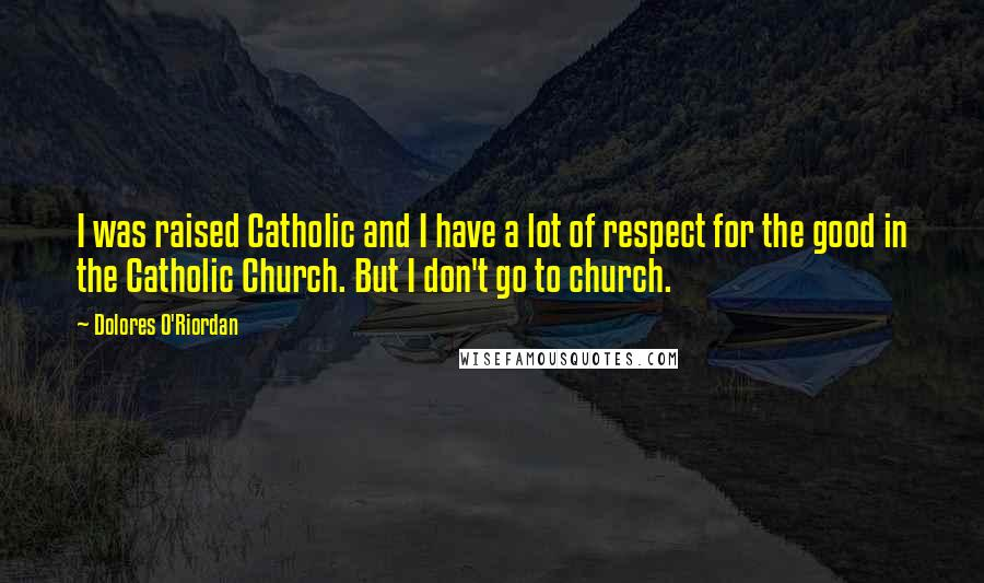 Dolores O'Riordan quotes: I was raised Catholic and I have a lot of respect for the good in the Catholic Church. But I don't go to church.