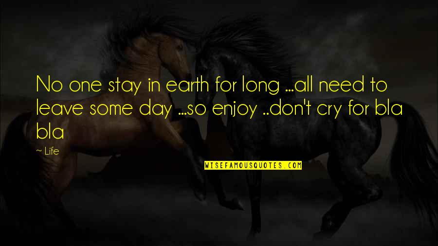 Don Cry Quotes By Life: No one stay in earth for long ...all