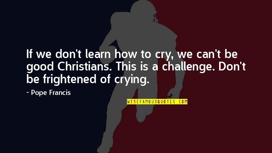 Don Cry Quotes By Pope Francis: If we don't learn how to cry, we