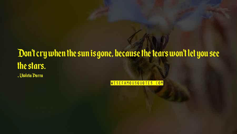 Don Cry Quotes By Violeta Parra: Don't cry when the sun is gone, because