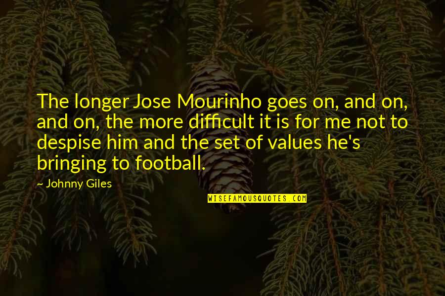 Don Eat Your Words Quotes By Johnny Giles: The longer Jose Mourinho goes on, and on,