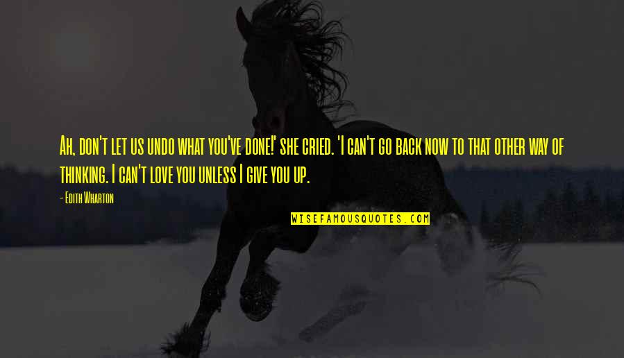 Don Give Up Now Quotes By Edith Wharton: Ah, don't let us undo what you've done!'