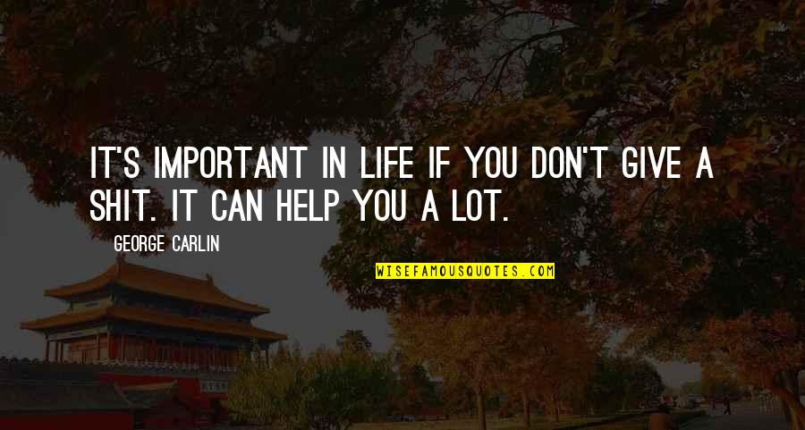 Don Give Up Now Quotes By George Carlin: It's important in life if you don't give