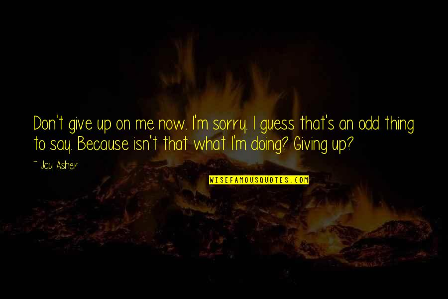 Don Give Up Now Quotes By Jay Asher: Don't give up on me now. I'm sorry.
