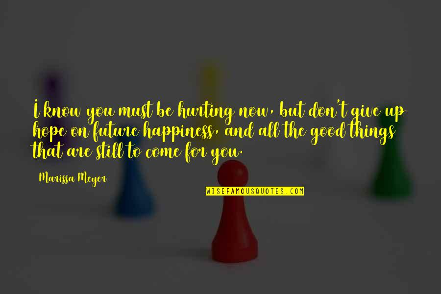 Don Give Up Now Quotes By Marissa Meyer: I know you must be hurting now, but