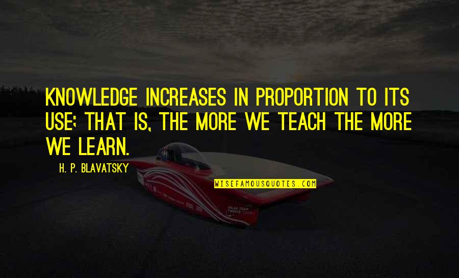 Don Limit Yourself Quotes By H. P. Blavatsky: Knowledge increases in proportion to its use; that