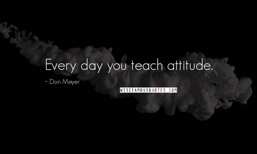 Don Meyer quotes: Every day you teach attitude.