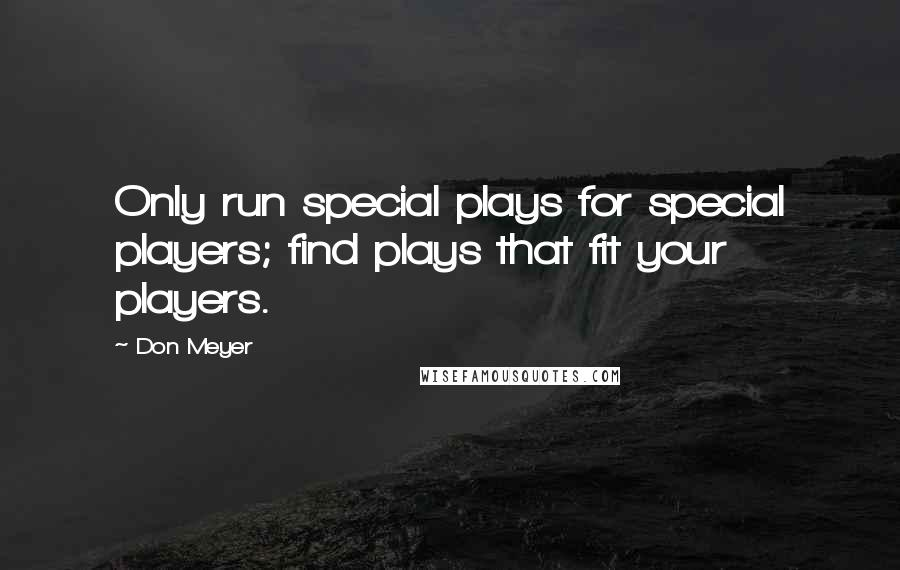 Don Meyer quotes: Only run special plays for special players; find plays that fit your players.