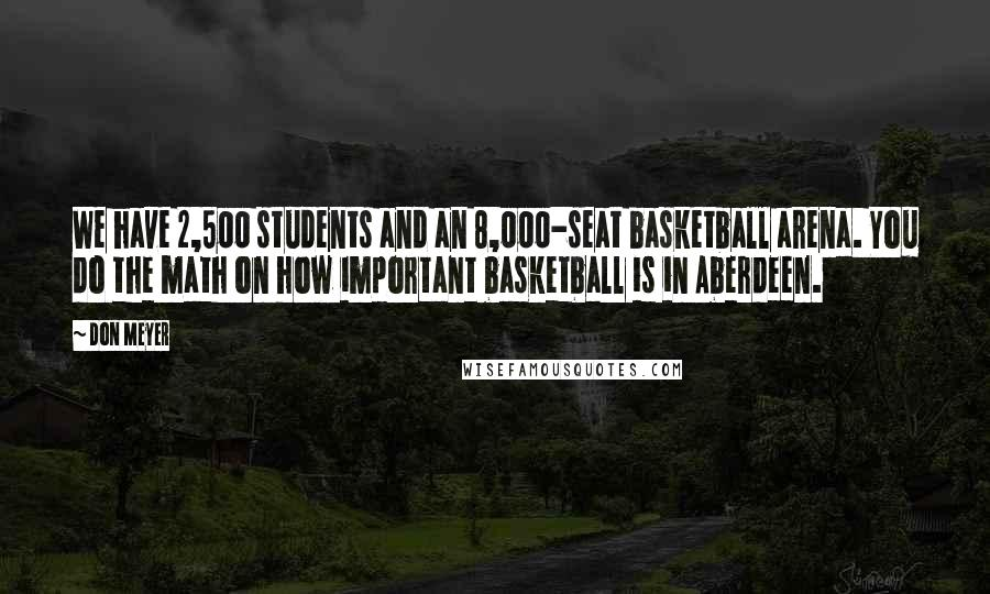 Don Meyer quotes: We have 2,500 students and an 8,000-seat basketball arena. You do the math on how important basketball is in Aberdeen.