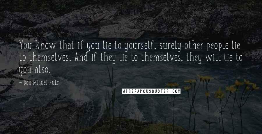 Don Miguel Ruiz quotes: You know that if you lie to yourself, surely other people lie to themselves. And if they lie to themselves, they will lie to you also.