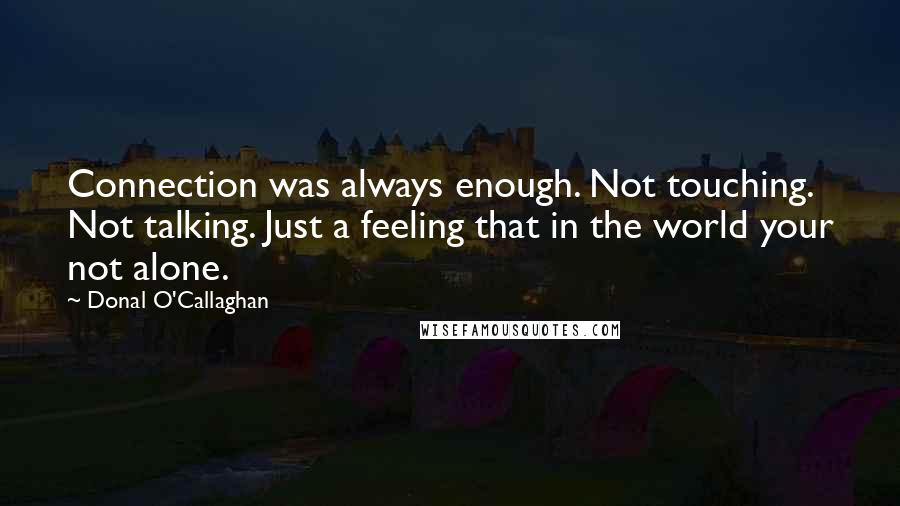 Donal O'Callaghan quotes: Connection was always enough. Not touching. Not talking. Just a feeling that in the world your not alone.