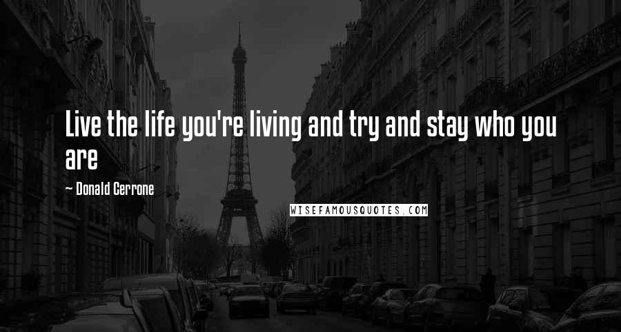 Donald Cerrone quotes: Live the life you're living and try and stay who you are