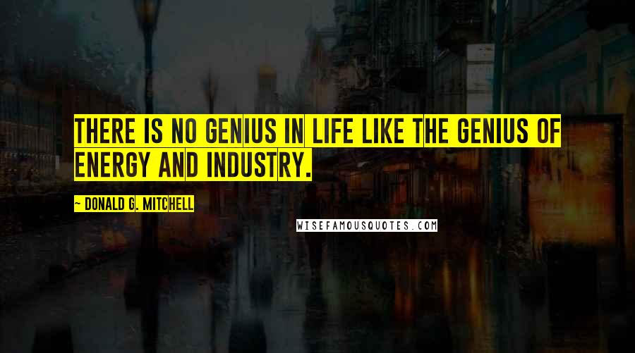 Donald G. Mitchell quotes: There is no genius in life like the genius of energy and industry.