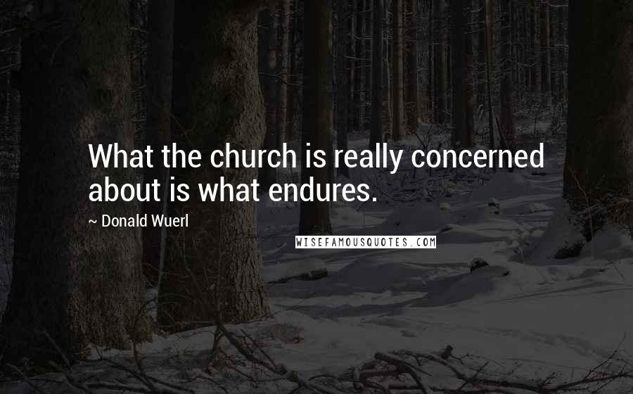 Donald Wuerl quotes: What the church is really concerned about is what endures.