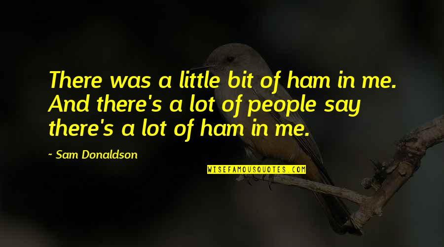Donaldson Quotes By Sam Donaldson: There was a little bit of ham in