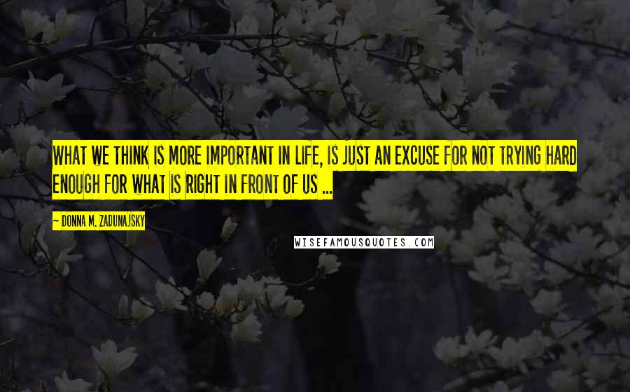 Donna M. Zadunajsky quotes: What we think is more important in life, is just an excuse for not trying hard enough for what is right in front of us ...