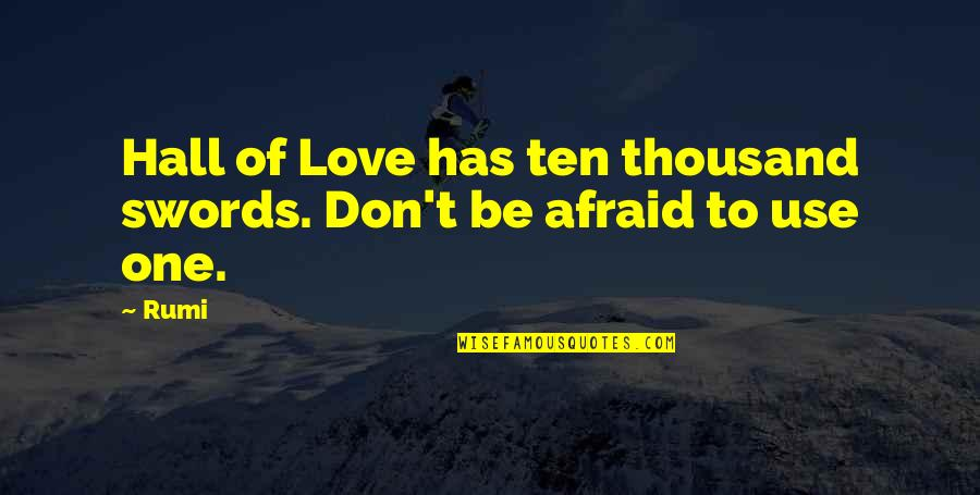 Don't Be Afraid To Quotes By Rumi: Hall of Love has ten thousand swords. Don't
