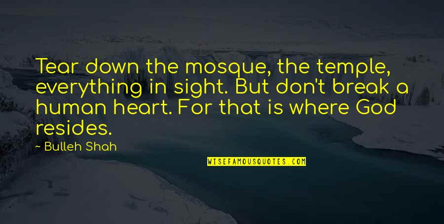 Don't Break Your Heart Quotes By Bulleh Shah: Tear down the mosque, the temple, everything in
