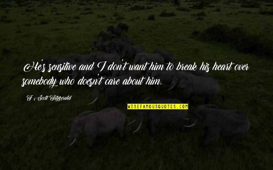 Don't Break Your Heart Quotes By F Scott Fitzgerald: He's sensitive and I don't want him to