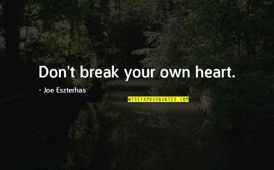 Don't Break Your Heart Quotes By Joe Eszterhas: Don't break your own heart.