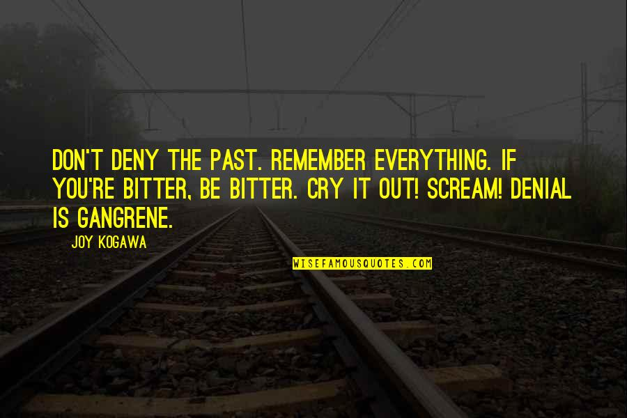 Don't Cry Over The Past Quotes By Joy Kogawa: Don't deny the past. Remember everything. If you're