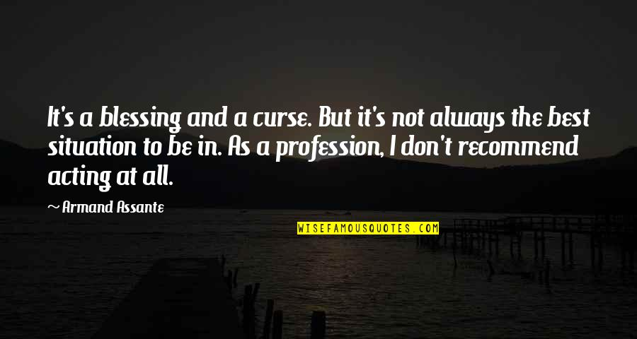Don't Curse Quotes By Armand Assante: It's a blessing and a curse. But it's