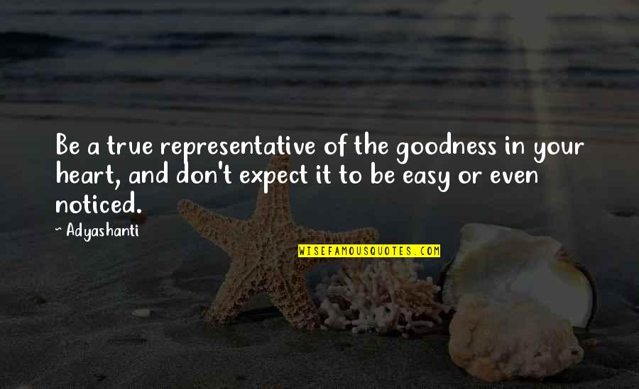 Don't Expect Too Much Quotes By Adyashanti: Be a true representative of the goodness in
