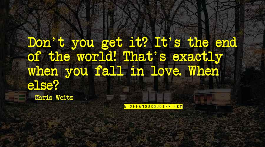 Don't Fall In Love Quotes By Chris Weitz: Don't you get it? It's the end of