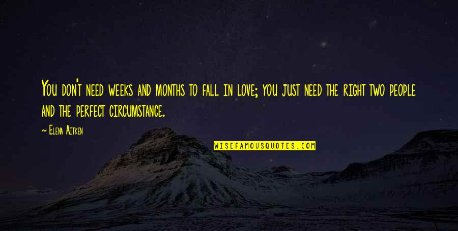 Don't Fall In Love Quotes By Elena Aitken: You don't need weeks and months to fall