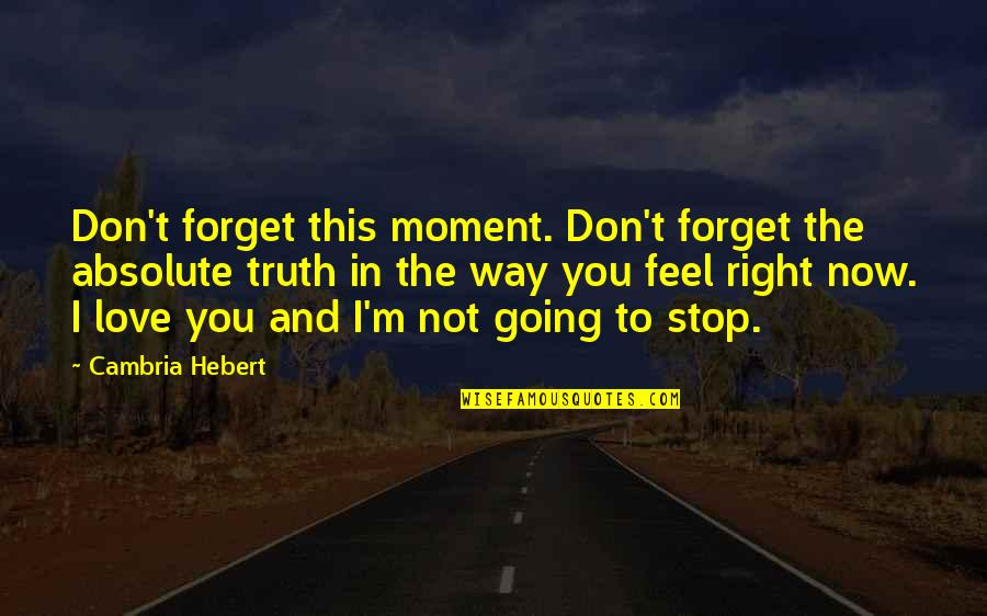 Don't Forget I Love You Quotes By Cambria Hebert: Don't forget this moment. Don't forget the absolute