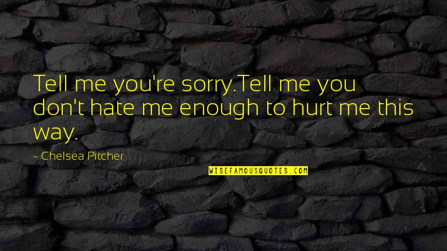 Don't Hurt Me So Much Quotes By Chelsea Pitcher: Tell me you're sorry.Tell me you don't hate